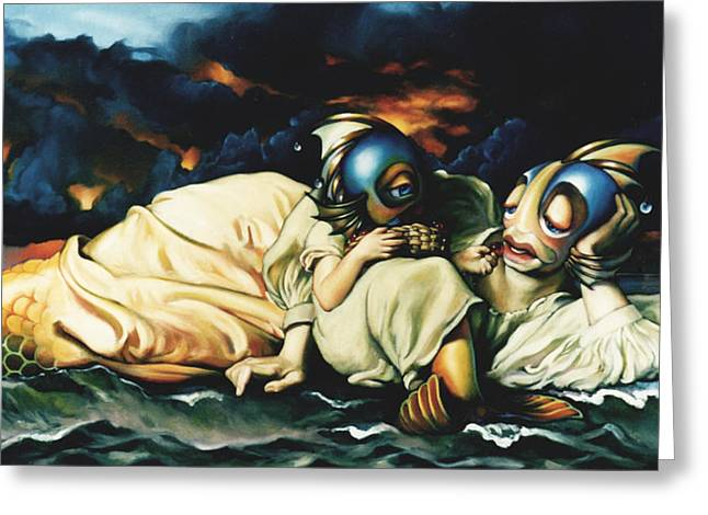Storm Clouds Paintings Greeting Cards - Mother and Child Reunion Greeting Card by Patrick Anthony Pierson