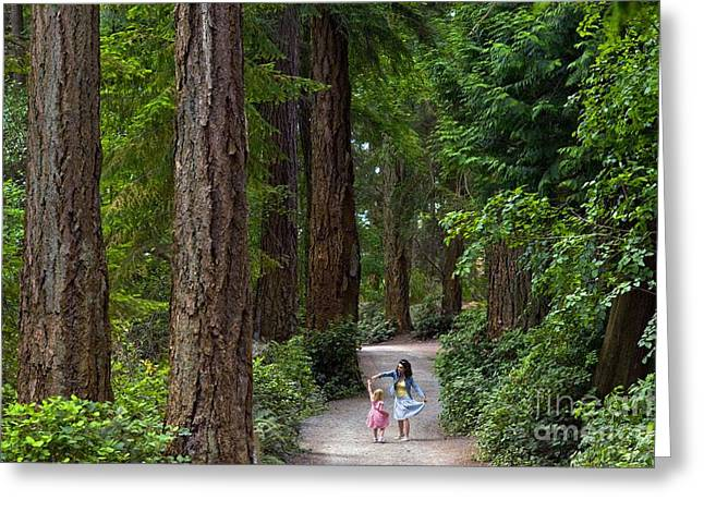 Dancing Girl Greeting Cards - Mother And Daughter Dancing In Forest Greeting Card by David Nunuk