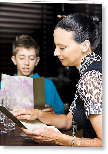 Ordering Greeting Cards - Mother And Son Consulting Menus Greeting Card by Ryan Jorgensen