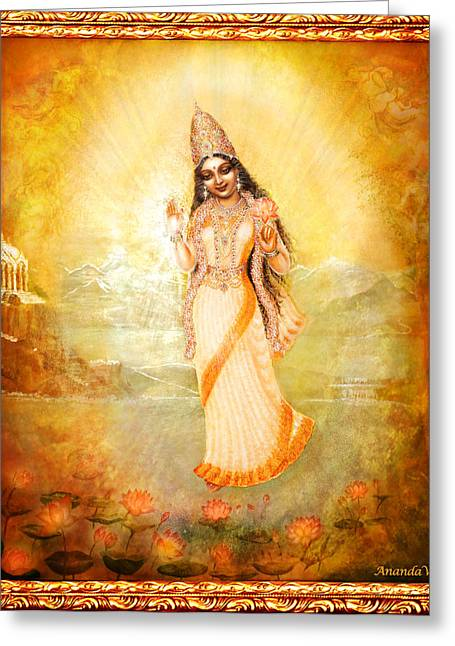 Hindu Goddess Greeting Cards - Mother Goddess with Angels Greeting Card by Ananda Vdovic