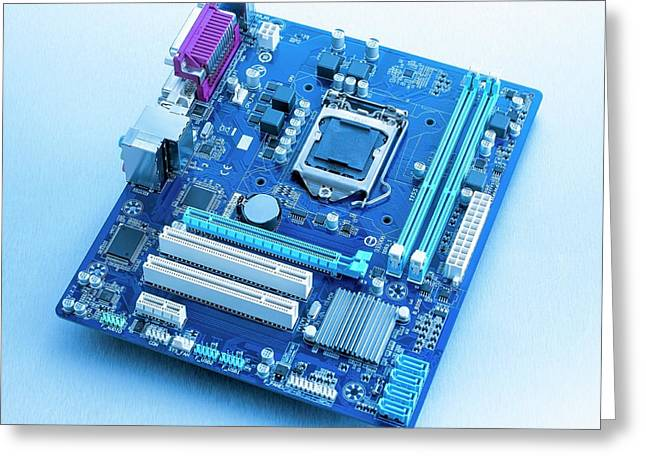 Motherboard Greeting Card by Science Photo Library