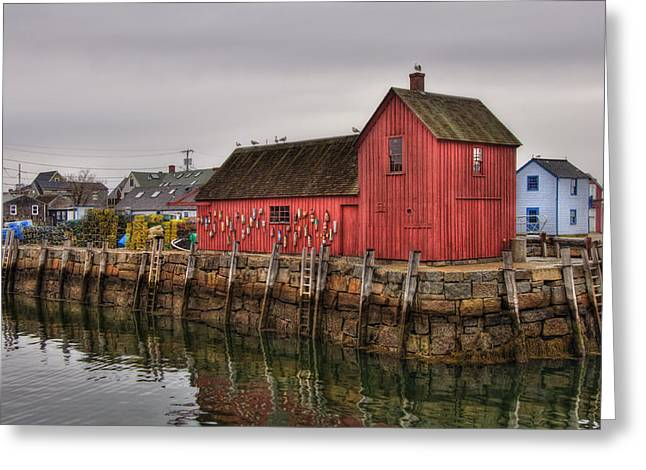 Red Fishing Shack Greeting Cards - Motif No 1 -  Red Fish Shack Greeting Card by Joann Vitali
