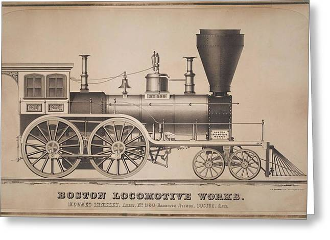 Boston Locomotive Works Greeting Card by Holmes Hinkley