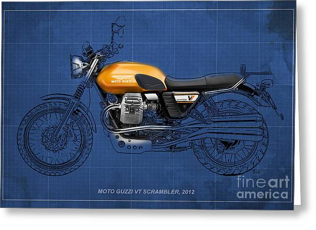 Motorcycles Pastels Greeting Cards - Moto Guzzi V7 Scrambler 2012 Original style Greeting Card by Pablo Franchi