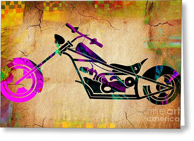Chopper Greeting Cards - Motorcycle Chopper Greeting Card by Marvin Blaine