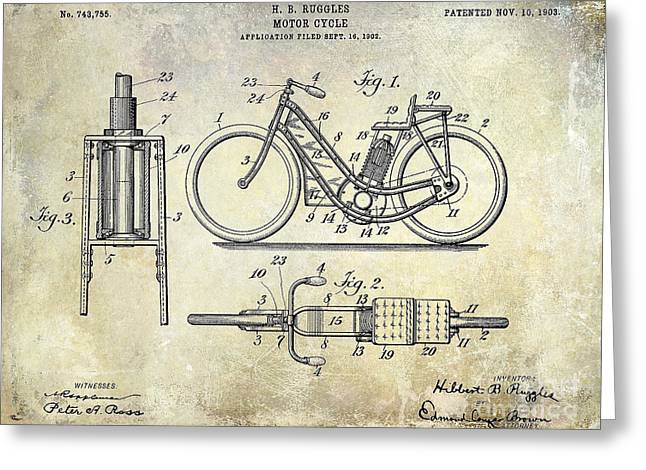 Honda Motorcycles Greeting Cards - 1903 Motorcycle Patent Greeting Card by Jon Neidert