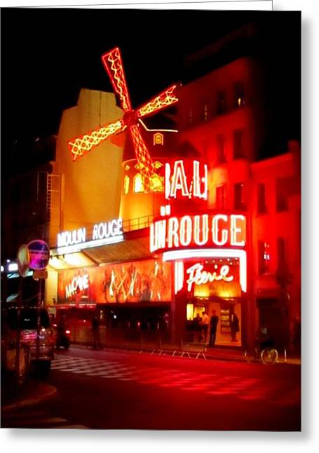 Night Scenes Greeting Cards - Moulin Rouge Greeting Card by John Malone