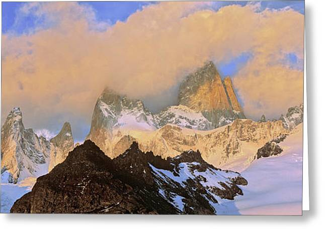 Mount Fitz Roy Seen From Laguna De Los Greeting Card by Martin Zwick