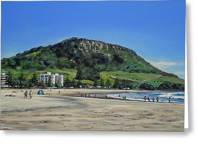 Mount Maunganui Greeting Cards - Mount Maunganui Beach 151209 Greeting Card by Sylvia Kula