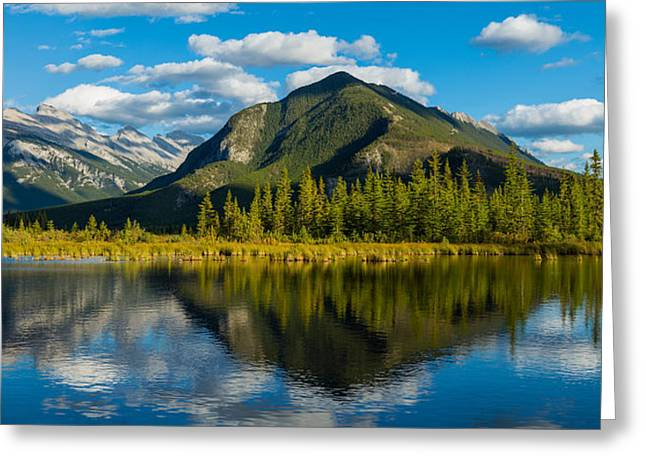 Mount Rundle And Sulphur Mountain Greeting Card by Panoramic Images