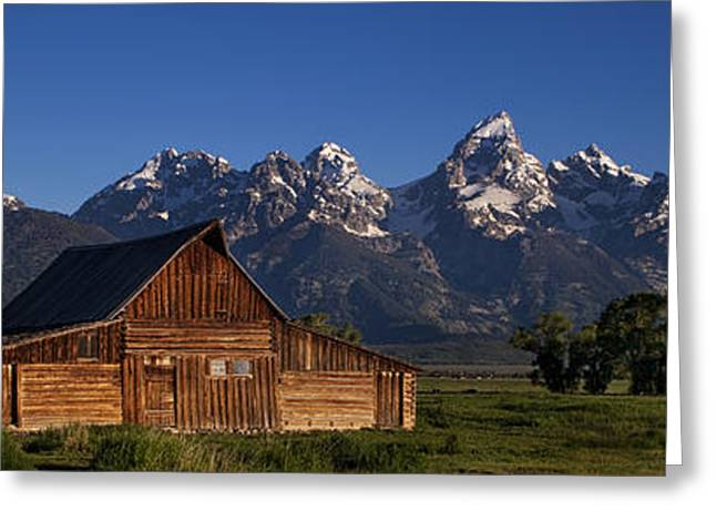 Snow Capped Greeting Cards - Mountain Barn Greeting Card by Andrew Soundarajan