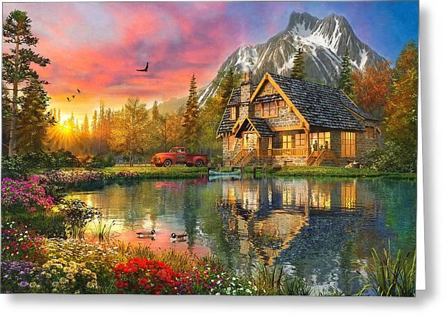 Mountain Cabin Greeting Card by Dominic Davison