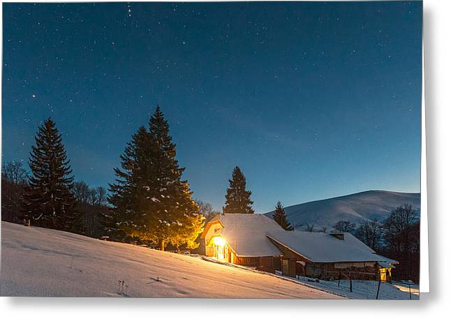 Mountain Hut Greeting Card by Evgeni Dinev