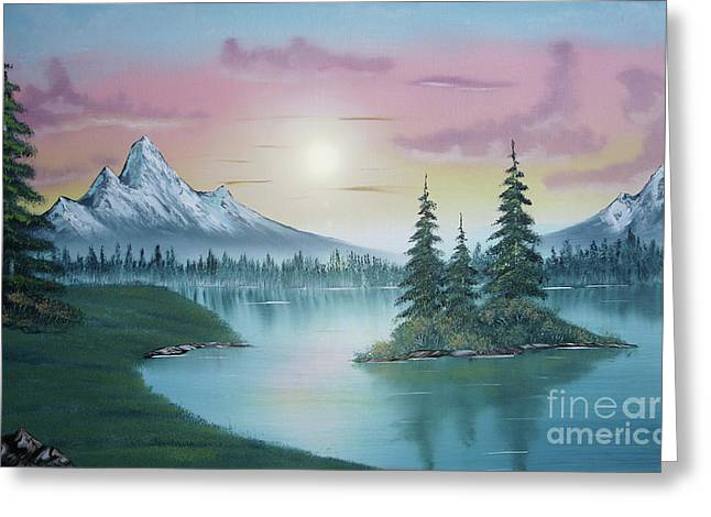 Bob Ross Paintings Greeting Cards - Mountain Lake Painting a la Bob Ross 1 Greeting Card by Bruno Santoro