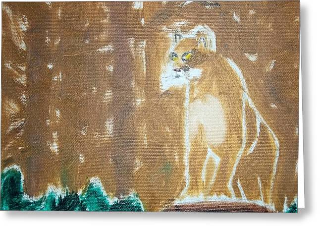 Etc. Paintings Greeting Cards - Mountain Lion Oil Painting Greeting Card by William Sahir House