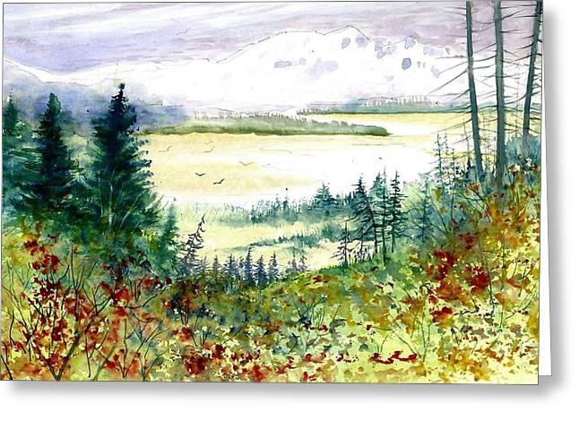 Award Winning Art Greeting Cards - Mountain Overlook Greeting Card by Steven Schultz