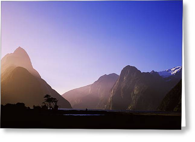Edge Greeting Cards - Mountain Range At Waters Edge, Milford Greeting Card by Panoramic Images