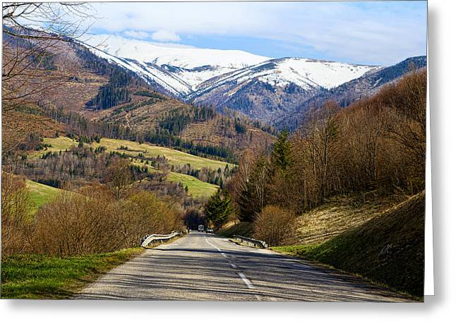 Slovakia Greeting Cards - Mountain Road In A Valley, Tatra Greeting Card by Panoramic Images