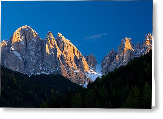 Alto Greeting Cards - Mountains At Sunset, Dolomites, Val Di Greeting Card by Panoramic Images