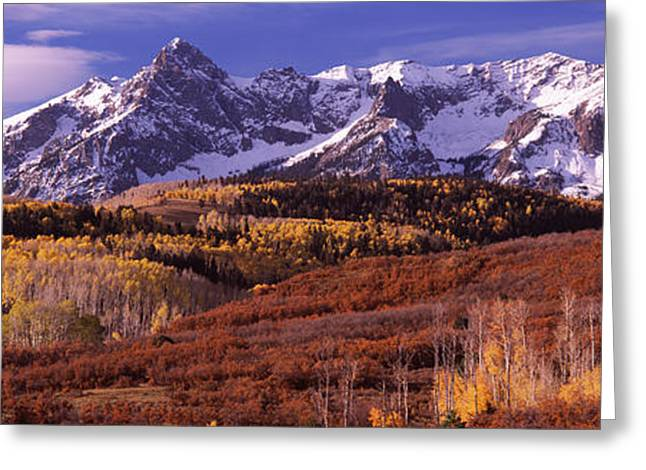 Fall Colors Greeting Cards - Mountains Covered With Snow And Fall Greeting Card by Panoramic Images