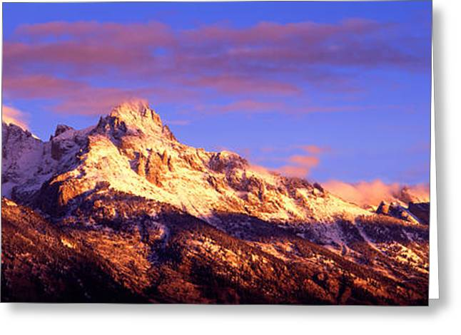 Mountain Greeting Cards - Mountains Covered With Snow, Teton Greeting Card by Panoramic Images