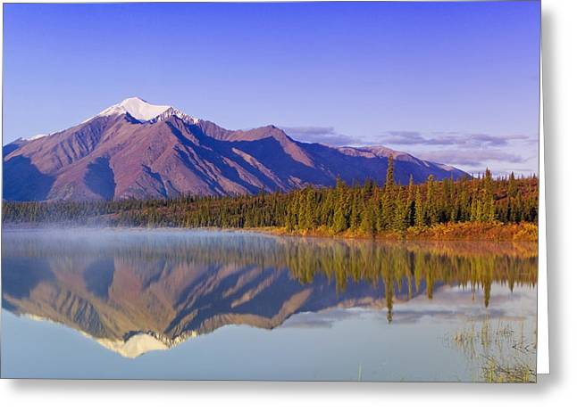 Morning Mist Images Greeting Cards - Mountains Reflect In Drashner Lake Just Greeting Card by Kevin Smith