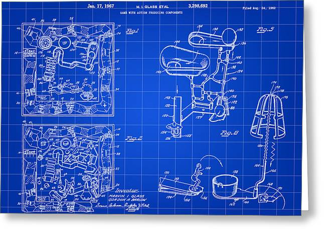 Ideal Digital Art Greeting Cards - Mouse Trap Board Game Patent 1962 - Blue Greeting Card by Stephen Younts