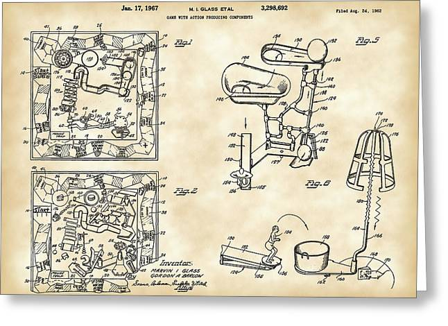Ideal Digital Art Greeting Cards - Mouse Trap Board Game Patent 1962 Greeting Card by Stephen Younts