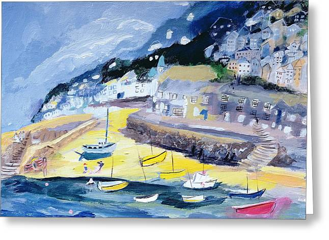 Fishing Village Greeting Cards - Mousehole, Cornwall, 2005 Acrylic On Board Greeting Card by Sophia Elliot
