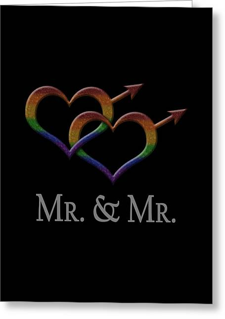 Mr. And Mr. Gay Pride Greeting Card by Tavia Starfire