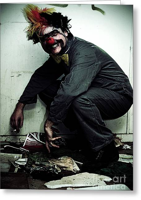 Mr Squatter The Unemployed Clown Greeting Card by Jorgo Photography - Wall Art Gallery
