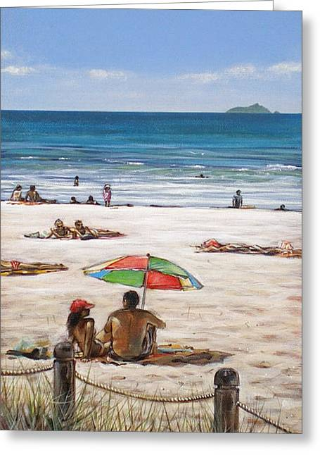 Mount Maunganui Greeting Cards - Mt Maunganui Beach 090209 Greeting Card by Sylvia Kula