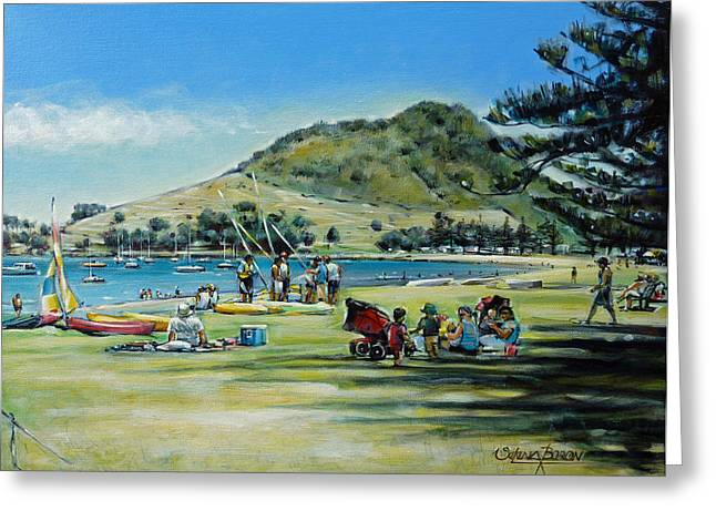 Mount Maunganui Greeting Cards - Mt Maunganui Pilot Bay 201210 Greeting Card by Selena Boron