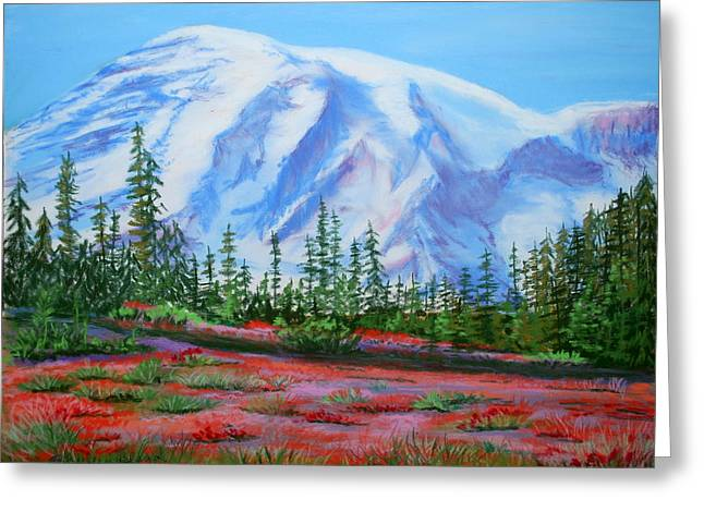 Fir Trees Pastels Greeting Cards - Mt. Rainier Greeting Card by Shirleen Bland