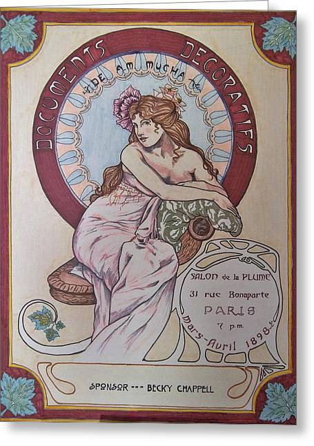 Peach Drawings Greeting Cards - Mucha Poster Greeting Card by Becky Chappell