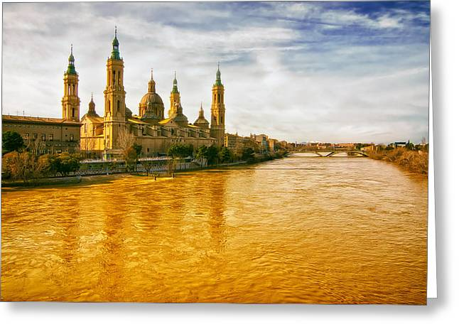 Muddy Waters Greeting Cards - Muddy River in Zaragoza  Greeting Card by Mountain Dreams