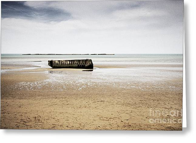 Division Greeting Cards - Mulberry harbour remains at Arromanches Les Bains Normandy France Europe Greeting Card by Jon Boyes