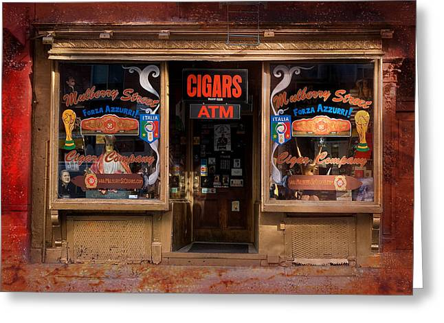 Store Fronts Greeting Cards - Mulberry Street Cigars Greeting Card by ADT Gallery