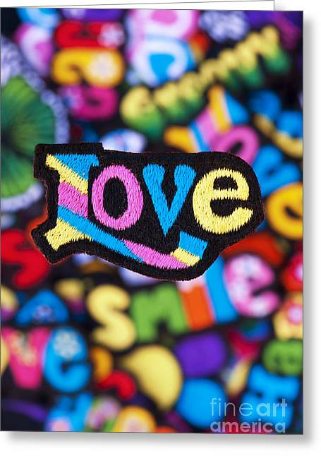 Embroidery Greeting Cards - Multicoloured Love  Greeting Card by Tim Gainey