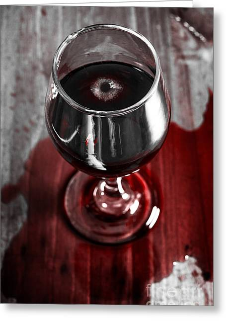 Wine Scene Greeting Cards - Murder mystery investigation. Private eye clues Greeting Card by Ryan Jorgensen