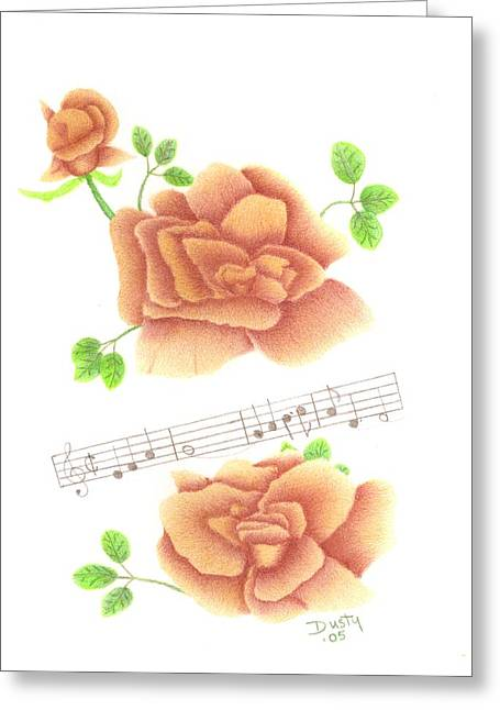Scores Drawings Greeting Cards - Musical Cinnamon Roses Greeting Card by Dusty Reed