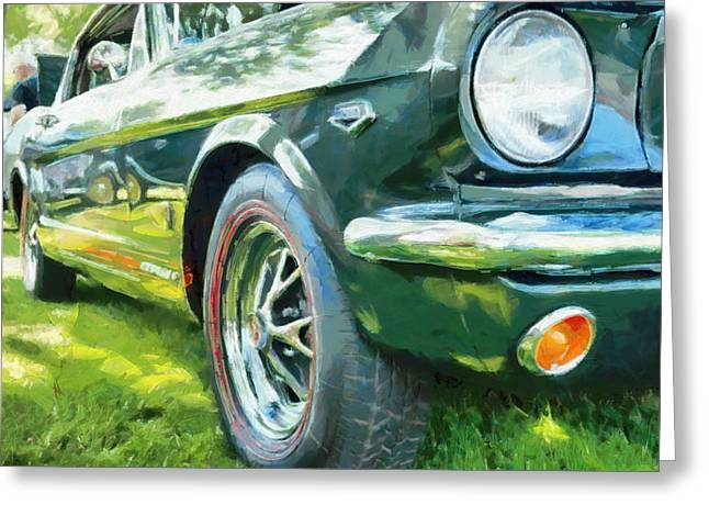 Parked Cars Greeting Cards - Mustang Greeting Card by Adam Vance