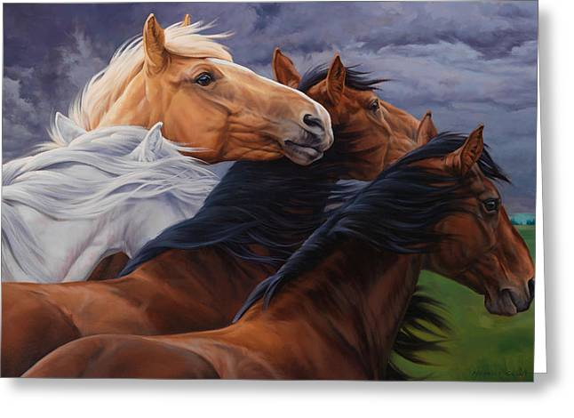 Horse Herd Greeting Cards - Mutual Support Greeting Card by JQ Licensing