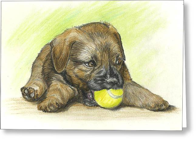 Puppies Drawings Greeting Cards - My ball Greeting Card by Daniele Trottier