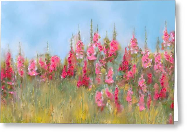 Pink Flower Prints Mixed Media Greeting Cards - The Earth Laughs in Flowers Greeting Card by Colleen Taylor