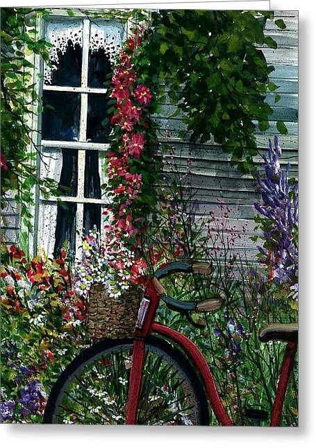 Award Winning Floral Art Greeting Cards - My Old Bike Greeting Card by Steven Schultz