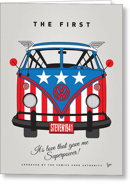 Captain America Greeting Cards - MY SUPERHERO-VW-T1-Captain America	 Greeting Card by Chungkong Art