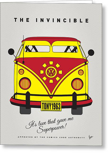 Superheroes Greeting Cards - MY SUPERHERO-VW-T1-Iron man Greeting Card by Chungkong Art