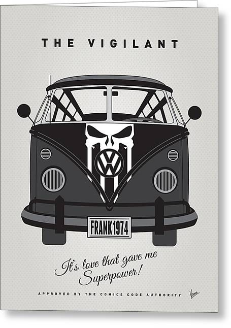 Captain America Greeting Cards - MY SUPERHERO-VW-T1-Punisher Greeting Card by Chungkong Art