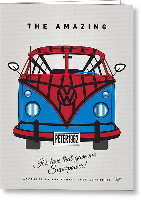 Captain America Greeting Cards - MY SUPERHERO-VW-T1-spiderman Greeting Card by Chungkong Art